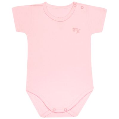 Body curto para bebe em Pima Cotton Supreme Rosa - Mini & Kids - BSM90 BODY MC SUEDINE ROSA BB-P