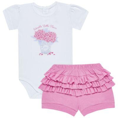 Imagem 1 do produto Body curto com Shorts para bebe em algodão egípcio c/ jato de cerâmica e filtro solar fps 50 L'hortensia- Mini & Kids - BSBA1746 CONJ. BODY MC C SHORTS SUEDINE HORTENCIAS-GG