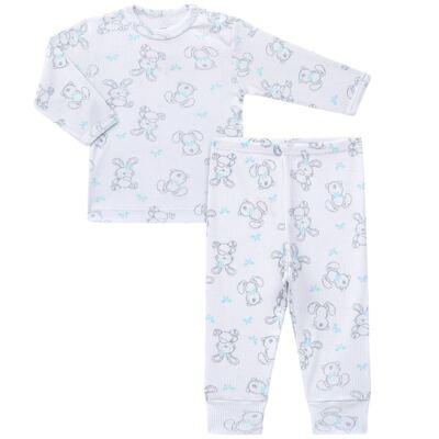 Imagem 1 do produto Blusa c/ Calça para bebe em algodão canelado Rabbit - Dedeka - DDK0860/E104 Conjunto Caneldo Estampado Coelho-G