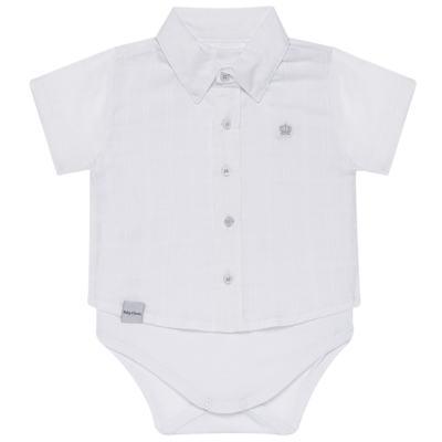 Imagem 1 do produto Body Camisa curto para bebe em tricoline Branco - Baby Classic - 02050001.09 BODY CAMISA - TRICOLINE-M