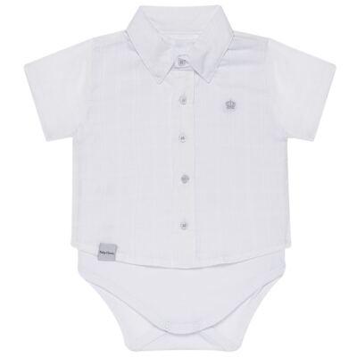 Imagem 1 do produto Body Camisa curto para bebe em tricoline Branco - Baby Classic - 02050001.09 BODY CAMISA - TRICOLINE-2