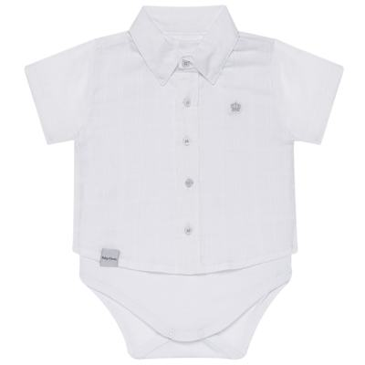 Imagem 1 do produto Body Camisa curto para bebe em tricoline Branco - Baby Classic - 02050001.09 BODY CAMISA - TRICOLINE-1