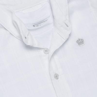 Imagem 2 do produto Body Camisa curto para bebe em tricoline Branco - Baby Classic - 02050001.09 BODY CAMISA - TRICOLINE-1