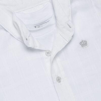Imagem 2 do produto Body Camisa curto para bebe em tricoline Branco - Baby Classic - 02050001.09 BODY CAMISA - TRICOLINE-GG