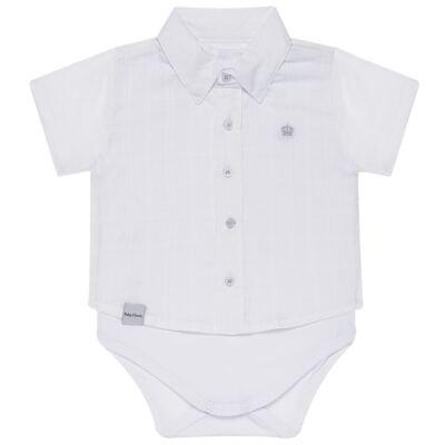 Imagem 1 do produto Body Camisa curto para bebe em tricoline Branco - Baby Classic - 02050001.09 BODY CAMISA - TRICOLINE-P