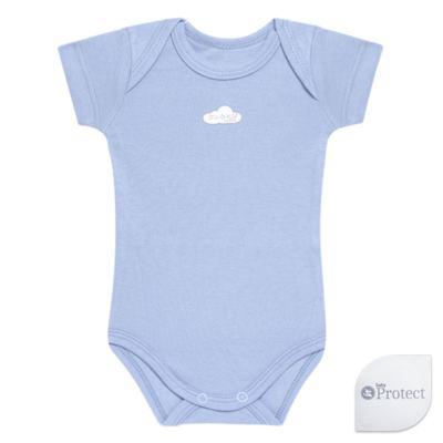 Imagem 1 do produto Body curto para bebe em suedine Baby Protect Azul - Mini & Kids - BDTC1735 BODY M/C TRANSP. SUEDINE AZUL-G