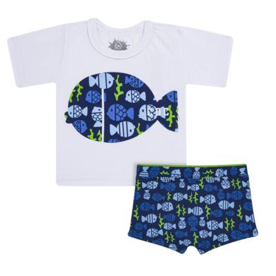 Imagem 1 do produto Conjunto de Banho Peixinhos: Camiseta + Sunga - Cara de Criança - KIT 1 2618: SB2618 + CCA2618 SUNGA E CAMISETA PEIXINHOS-6
