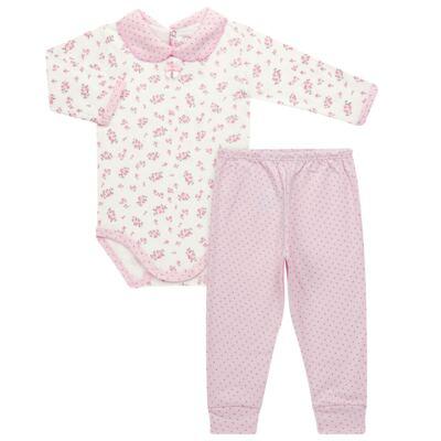 Imagem 1 do produto Body golinha c/ Calça para bebe em suedine Florzinhas - Dedeka - DDK17577/E166 CONJUNTO DE BODY SUEDINE FLORAL-M