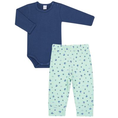 Imagem 1 do produto Body longo com Calça para bebe em algodão egípcio c/ jato de cerâmica e filtro solar fps 50 Little Boat - Mini & Kids - CS641.326 CONJ BODY ML C/ MIJAO SUEDINE MAR-RN