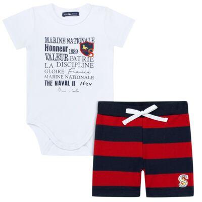 Imagem 1 do produto Body curto c/ Bermuda para bebe em moletinho Marine - Mini Sailor - 17244443 BODY M/C C/SHORTS COTTON/MOL VERMELHO-0-3