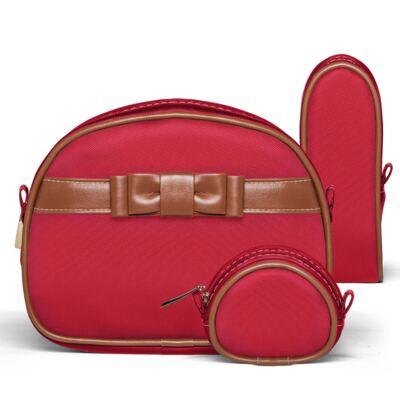 Imagem 4 do produto Kit Mala Maternidade para bebe + Frasqueira Térmica Cambridge +  Kit Acessórios + Necessaire Laço Caramel Vermelho - Classic for Baby Bags