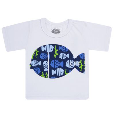 Imagem 2 do produto Conjunto de Banho Peixinhos: Camiseta + Sunga - Cara de Criança - KIT 1 2618: SB2618 + CCA2618 SUNGA E CAMISETA PEIXINHOS-3