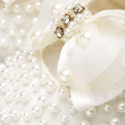 Imagem 2 do produto Sapatilha para bebe em cetim Pérolas & Laço Marfim - Roana - SPL00059031  Sapatilha Pérolas Laço Organza Marfim-M