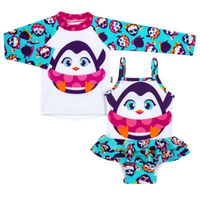 Imagem 1 do produto Conjunto de banho Pinguim: Camiseta + Maiô - Puket - KIT PK PINGUIM Camiseta + Maio Pinguim Puket-9-12