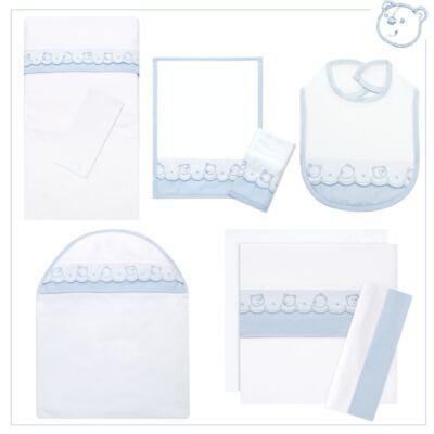 Imagem 1 do produto Kit Enxoval Ursinhos: Babador + Colchão de Carrinho + Kit de Fraldinhas + Jogo de Lençol + Toalha com Capuz