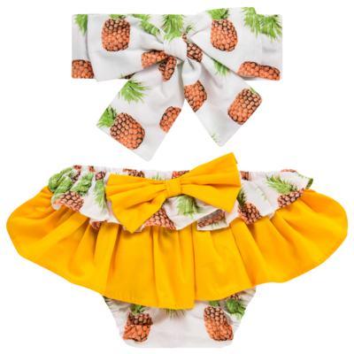 Imagem 1 do produto Conjunto de banho Pineapple: Bumbum + Faixa de Cabelo - Roana - BAST0904013 BANHO DE SOL TURBANTE 124 AMARELO-G