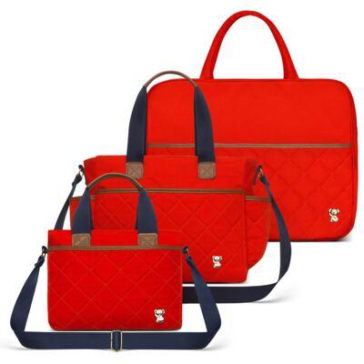 Imagem 1 do produto Mala Maternidade para bebe + Bolsa de Viagem + Frasqueira Térmica Heloisa em sarja Casual Cenoura - Classic for Baby Bags
