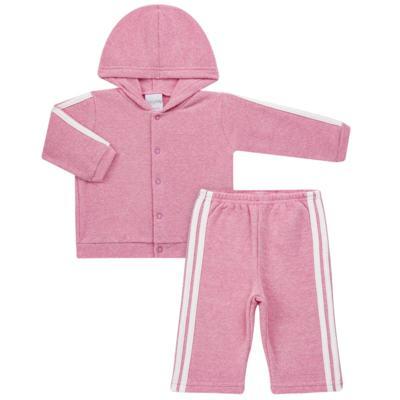 Imagem 1 do produto Casaco c/ capuz e Calça para bebe em soft Rosa - Tilly Baby - TB0172020.10 CONJ. CASACO COM CALÇA SOFT ROSA-P