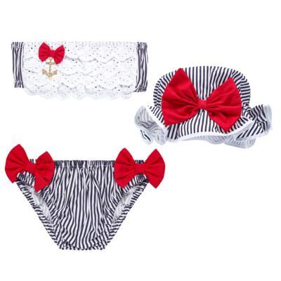 Imagem 1 do produto Conjunto de banho Sailor: Biquini + Chapéu - Roana - BSTR0901008 Banho de Sol c/ Top Marinho Âncora-G