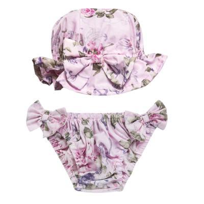 Imagem 1 do produto Conjunto de banho Floral: Bumbum + Chápeu - Roana - BAS00898046 BANHO DE SOL ROSA-G