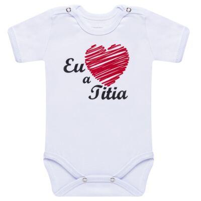 Imagem 1 do produto Body curto para bebe em suedine Eu <3 a Titia - Primeiras Palavras - PP1008 BODY EU AMO A TITIA MANGA CURTA-RN
