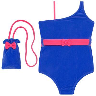 Imagem 1 do produto Maiô em Lycra aveludado Blue & Pink - Cara de Criança - M1274 VEL VET MAIO LYCRA-1
