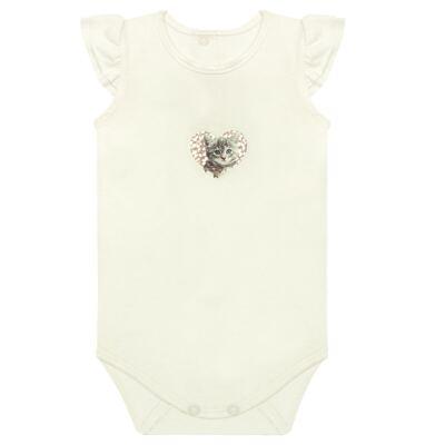 Imagem 1 do produto Body curto para bebe com frufru em viscolycra Cats & Rabbits  - Baby Classic - 121962 BODY C/MANGA BABADOS VISCOLYCRA PET PRINT 2-G