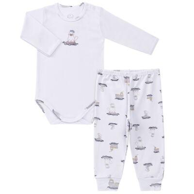 Imagem 1 do produto Body longo c/ Calça para bebe em algodão Wally - Dedeka - DDK16576/E112 Conjunto de Body Ribana Morsa -M