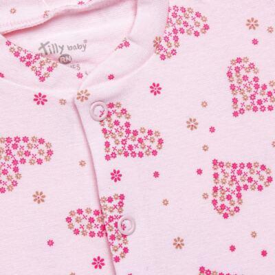 Imagem 2 do produto Macacão longo para bebe em malha Little Hearts - Tilly Baby - TB168702 MACACAO PIJAMA FEM PUNHO CORAÇÃO-RN