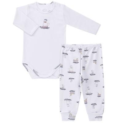 Imagem 1 do produto Body longo c/ Calça para bebe em algodão Wally - Dedeka - DDK16576/E112 Conjunto de Body Ribana Morsa -GG