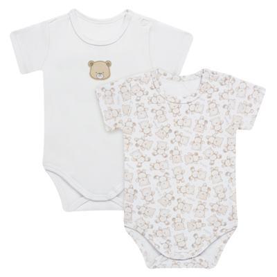 Imagem 1 do produto Pack: 02 Bodies curtos para bebe em algodão egípcio c/ jato de cerâmica Nature Little Friends - Mini & Classic - 1024650 PACK 2 BODIES MC SUEDINE NATURE -RN