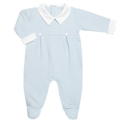 Imagem 1 do produto Macacão longo c/ golinha para bebe em viscomfort Bleu - Petit - 22104345 MACACAO C/ GOLA E PALA MATELASSE OVELHA MASC-RN