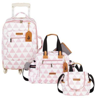 Imagem 1 do produto Mala Maternidade com Rodízio + Bolsa Everyday + Frasqueira térmica Emy Manhattan Rosa - Masterbag