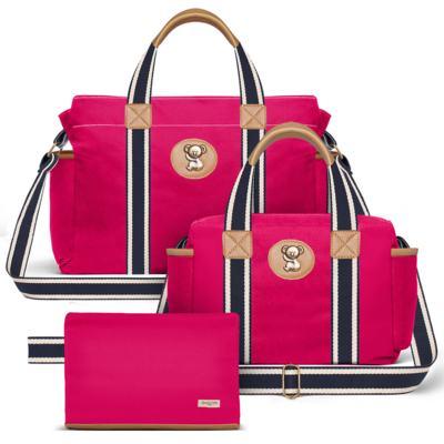 Imagem 1 do produto Bolsa Albany + Frasqueira Térmica Gold Coast + Necessaire Farmacinha em sarja Adventure Pink - Classic for Baby Bags