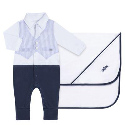 Imagem 1 do produto Jogo Maternidade com Macacão e Manta em algodão egípcio Harold - Bibe - 39Z39-01 CJ MATERNIDADE MASC-RN