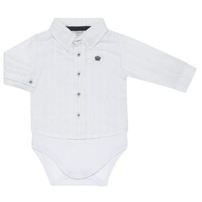 Imagem 1 do produto Body Camisa manga longa para bebe em tricoline Branco - Baby Classic - 03060001.09 BODY CAMISA M/L MASCULINO-TRICOLINE-G