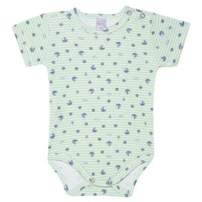 Imagem 1 do produto Body curto para bebe em algodão egípcio c/ jato de cerâmica e filtro solar fps 50  Little Boat - Mini & Kids - BSM1747 BODY MC SUEDINE NAVY-RN