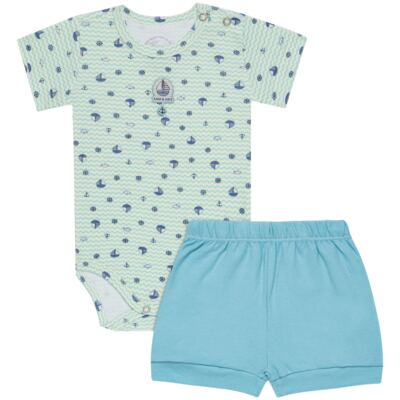 Imagem 1 do produto Body curto com Shorts em algodão egípcio c/ jato de cerâmica e filtro solar fps 50 Little Boat - Mini & Kids - CBS1747 BODY MC SHORTS SUEDINE NAVY-GG