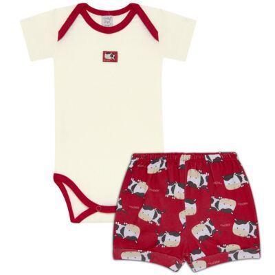 Imagem 1 do produto Body curto com Shorts para bebe em high comfort Vaquinha - Vicky Lipe - 18280001.38 CONJ.BODY C/SHORTS - SUEDINE-M
