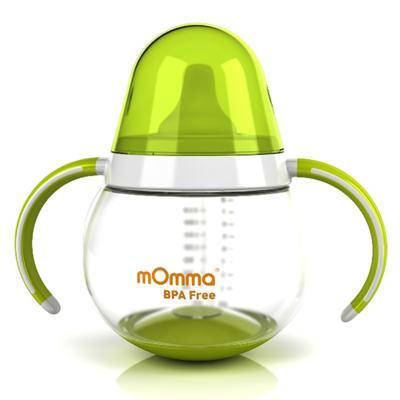 Imagem 1 do produto Copo de transição Antivazamento com alças Verde 250 ml (6m+) - mOmma - MM71001 Copo de Transição Antivazamento Verde 250ml (6m+)