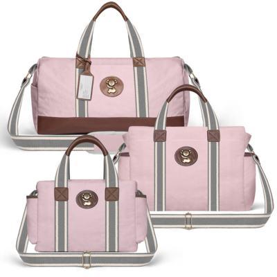 Imagem 1 do produto Bolsa Passeio para bebe + Bolsa Albany + Frasqueira Térmica Gold Coast em sarja Adventure Rosa - Classic for Baby Bags