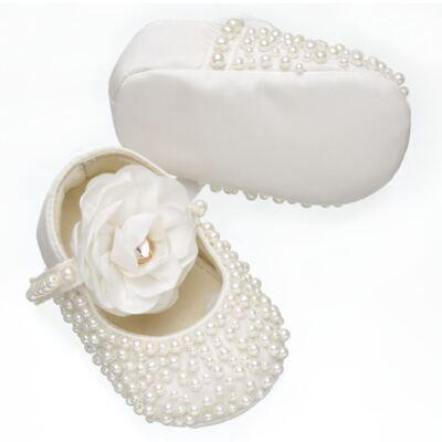 Imagem 3 do produto Sapatilha para bebe em cetim Pérolas & Flor Marfim - Roana - SPL00060031 Sapatilha Pérolas Flor Marfim-RN
