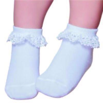 Imagem 1 do produto Meia Soquete para bebe Branca Renda - Puket
