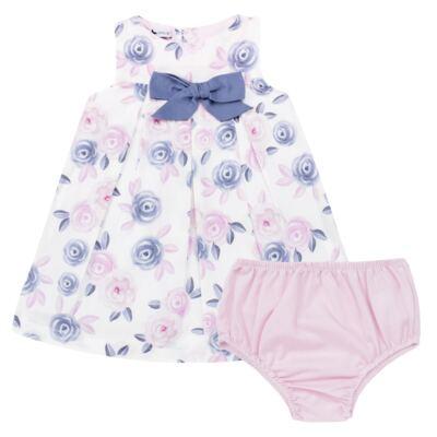 Imagem 1 do produto Vestido c/ Calcinha para bebe em tricoline Flourish - Mini Sailor - 14394440 VESTIDO RECORTE LACO TRICOLINE FLORAL ROSA-NB