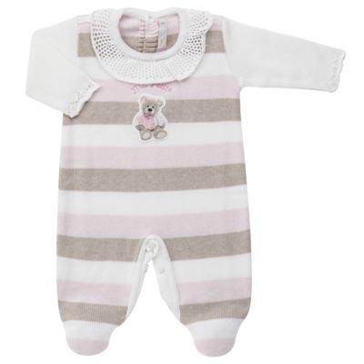 Imagem 1 do produto Macacão c/ golinha para bebe em tricot Ma Petite - Petit - 21874283 MACACAO C/GOLA BABADO TRICOT LISTRA ROSA -M
