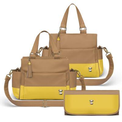 Imagem 1 do produto Bolsa maternidade para bebe Genebra + Frasqueira Térmica Zurique + Trocador Portátil Due Colore Amarelo - Classic for Baby Bags