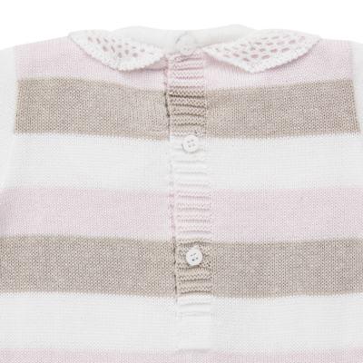 Imagem 3 do produto Macacão c/ golinha para bebe em tricot Ma Petite - Petit - 21874283 MACACAO C/GOLA BABADO TRICOT LISTRA ROSA -GG