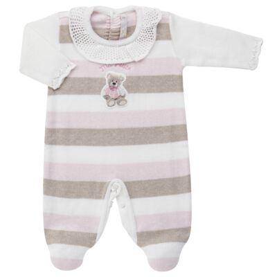 Imagem 1 do produto Macacão c/ golinha para bebe em tricot Ma Petite - Petit - 21874283 MACACAO C/GOLA BABADO TRICOT LISTRA ROSA -G