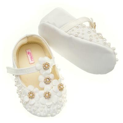 Imagem 3 do produto Sapatilha para bebe em cetim Bouquet Marfim - Roana - SPL00106031 Sapatilha Flores  Pérolas Marfim-RN