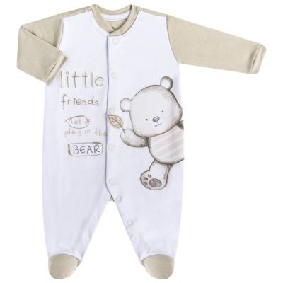 Imagem 1 do produto Macacão longo para bebe em algodão egípcio c/ jato de cerâmica Nature Little Friends - Mini & Classic - MAML650 MACACAO M/L SUEDINE NATURE-P